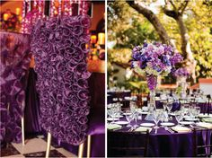 Purple Wedding Reception Table & Chair Decorations with Tall Purple & White Flower Table Centerpieces, Purple Table Cloths, and Purple Calla Lilies Flower Chair Back