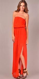 Chelsea Flower - Strapless Cinched Waist Maxi Dress - Orange  @bigdropnyc  http://www.bigdropnyc.com/chelsea-flower#