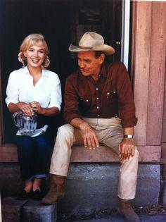 Marilyn Monroe and Clark Gable on set.