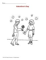 Coloring page of a boy giving a girl flowers for Valentine's Day clinic idea, girl flower, valentine day, happi valentin