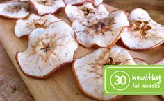 Apple Chips- slice apples as thin as you can and bake at 200 degrees for a few hours until edges have curled