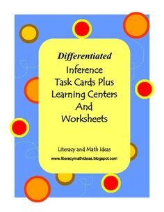 Do you need inference task cards at different reading levels? This collection includes 40 inference task cards, two inference learning center games, and three bonus worksheets.     The entire document reviews different types of inferences students make while reading. The 20 Level A task cards are for first through second grade levels. The other 20 Level B task cards are for third through fifth grade level readers. The entire document is aligned to Common Core Standards R.L.1. and R.I.1. $4.50