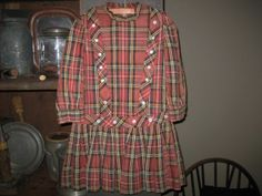 Girl's Early Red Plaid Dress in Good Condition.....some fading.