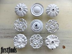 9 Misfit Lg Shabby Chic White Distressed Knobs Kitchen Cabinet Pulls Vintage Hardware Cupboard Handles