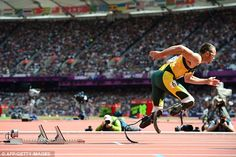 Flying start: Double amputee Oscar Pistorius came second in his heat of the men's 400m