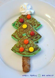 kids christmas, pancak, tree trunks, christmas morning, christma tree, food coloring, christmas trees, whipped cream, christmas breakfast