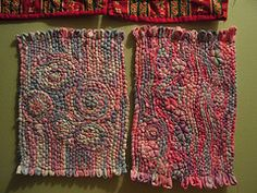 mug rugs cotton fabric couched on denim- or faux weaving -you can't weave in spirals on a straight warp