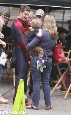 Andrew Garfield is so cute...always mingling with the little ones!