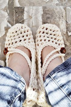 Crochet Slippers Women's Cream by IsabelleKnits on Etsy, $20.00