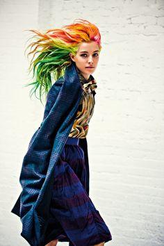 i want rainbow hair. hair colors, punk fashion, colored hair, celebrity hairstyles, colorful hair, metal, rainbow hair, chloe norgaard, magazin