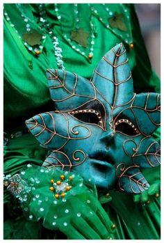 mascara, green envy, venetian masks, carnival, blue