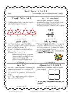 This collection of Printable Math Problems and Math Brain Teasers Cards from Games 4 Learning contains 66 printable math brain teasers. $