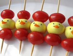 Mini-Mozzarella Chicks & Cherry Tomato Skewers -Cute for a nutritious Easter snack!