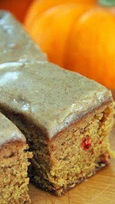 Pumpkin Cranberry Spice Cake with Brown Sugar Glaze