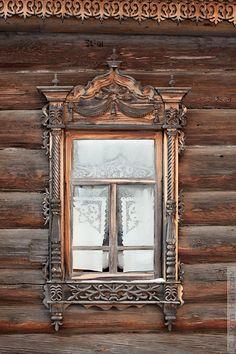 mirror, log cabins
