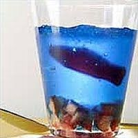 A cute snack for the water themed birthday party. Blue jello with a fish gummy in a cup.