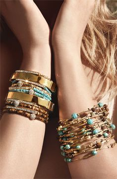 Love the mix of turquoise, metal and wood bracelets!