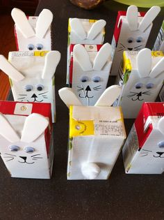Easter bunny juice boxes: white duct tape, foam ears and Sharpie marker face features!
