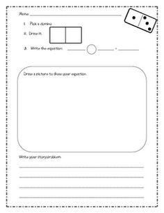 domino math!-I could adjust this for my second graders and make a fact family sheet