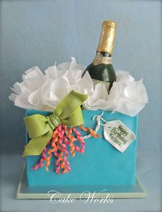 Champagne gift bag for a 21st birthday.
