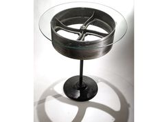 Spinning Steel Wheel-Top Industrial Table - so cool! #furniture