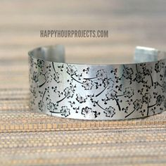 Simple Dandelion-Stamped Cuff at www.happyhourprojects.com