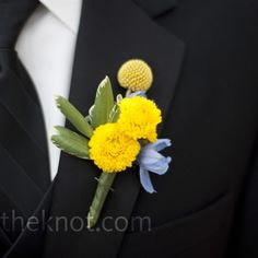 """The men wore the bride's favorite flower, craspedia or """"billy buttons,"""" on their lapels."""
