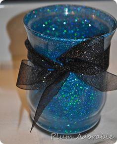 glasses, cups, blue, makeup storage, plums, crafty crochet, glitter vase, glitter jars, pens