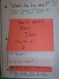 Main Idea flip books in reading journals