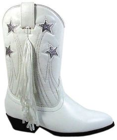 Girls White Cowboy Boots with fringe