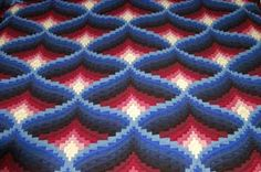 """This """"Light in the Valley"""" quilt looks three dimensional. bargello quilt"""