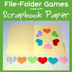 File Folder Games made with scrapbook paper famili fun, file folder games, paper pumpkin, family fun games, scrapbook paper, cereals, toddler, filefold game, file folders