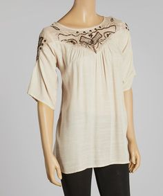 Another great find on #zulily! Ivory Gray Abstract Sheer-Yoke Tunic #zulilyfinds