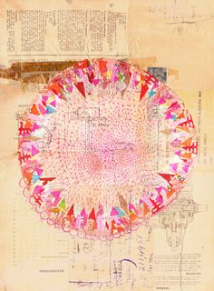 Circle collage ~ artist Paula Mills.  Created on vintage paper with  stamps, hand cut paper pieces, & pen & ink.  5 x 7 inches.  What a great way to use up the tiniest bits of that beautiful scrapbook paper stash!  (You know you have one, lol!)  #art #journal