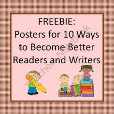 10 Ways to Become Better Readers and Writers from Fantastically Fifth on TeachersNotebook.com -  (6 pages)  - Decorative Posters that can be displayed that say: 10 Ways to Become Better Readers and Writers.  Read and Write are written in different fonts and colors.