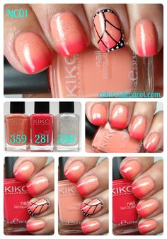 Butterfly Wing Nail art: four color colour design: hot pink and neutral nude pastel orange peach gradient / ombre with black and white free hand painting brush lines and dots. #spring #summer 2013