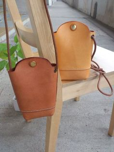 Hand Stitched Light Brown Leather phone by ArtemisLeatherware
