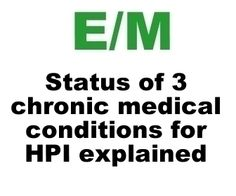 Status of 3 Chronic Medical Conditions For HPI and Medical Decision Making. medic decis, practic manag, happi hospitalist, cpt code, clean recip, work stuff, medic code