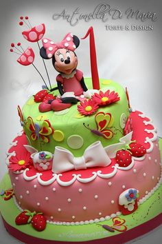 Minnie in a strawberry garden - by antonelladimaria @ CakesDecor.com - cake decorating website