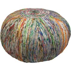 Sari silk-blend pouf.  Product: PoufConstruction Material: Silk coverColor: White and multi