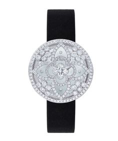 Louis Vuitton Les Ardentes secret watch with black satin strap. | The Jewellery Editor