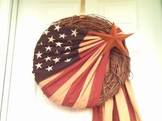 Primitive Patriotic Stained Flag Wreath,Americana Wreath,Flag Wreath via Etsy