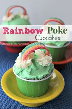 This Rainbow Poke Cupcakes Recipe is an easy peasy one! If you've never had poke cake, you're missing out. It's SO super duper moist!!! This recipe is a great summer time recipe but it's also perfect for St. Patrick's Day!