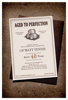 Aged to Perfection dinner party letterpress invitations for 40th birthday