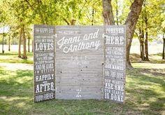 Fun custom wooden backdrop. Photo by Imago Vita Photography. #wedding #backdrop #decor #rustic #type #altar
