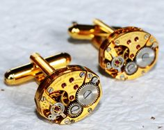 GIRARD PERREGAUX Steampunk Cufflinks - Made with Genuine Girard Perregaux Watch Movements. Available at TimeInFantasy, $120.00