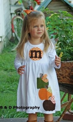 Fall Applique Dress - Toddler Dress or Girl's Dress- Personalized Dress with Three Pumpkin Appliques -Choose Dress Color and Sleeve Length. $31.00, via Etsy.