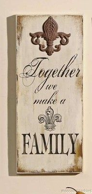 New FLEUR-DE-LIS  FAMILY PLAQUE French Country Wall Decor Accent Picture Art