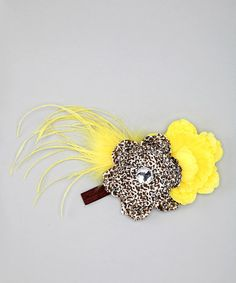Take a look at this Yellow & Brown Cheetah Peony Headband by Always Serendipity on #zulily today!