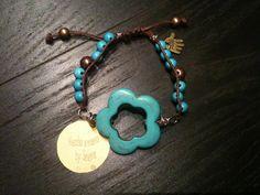piedra turquesa, diy jewelri, hand made, pulsera alambr, alambr aluminio